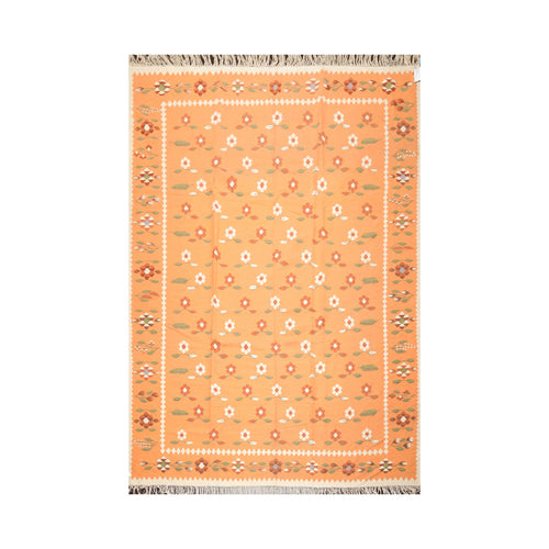 8' 1''x11' 9'' Beige Caramel Pale Pink Color Hand Woven Dhurry 100% Wool Southwestern Oriental Rug