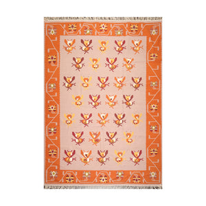 8' 5''x11' 5'' Rose Orange Gold Color Hand Woven Dhurry 100% Wool Southwestern Oriental Rug