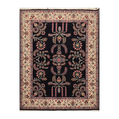 8' 2''x10' 5'' Black Ivory Rose Color Hand Knotted Persian 100% Wool Traditional Oriental Rug