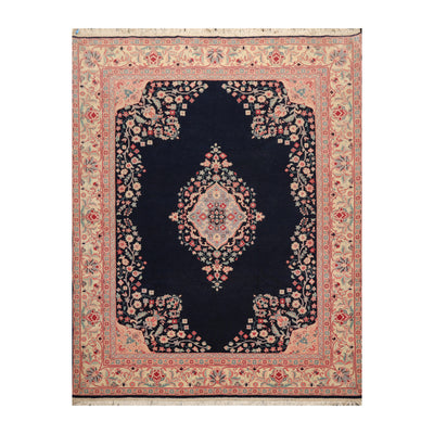 7' 10''x10'  Navy Ivory Rose Color Hand Knotted Persian 100% Wool Traditional Oriental Rug