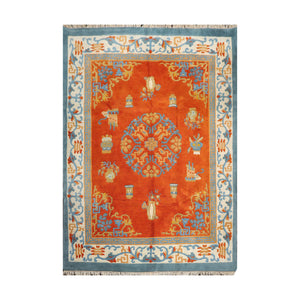 7' 11''x9' 8'' Orange Ivory Light Gold Color Hand Knotted Persian Cotton Traditional Oriental Rug