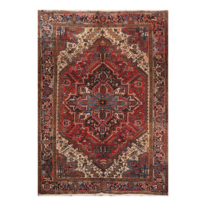 6' 10''x9' 4'' Rust Charcoal Ivory Color Hand Knotted Persian 100% Wool Traditional Oriental Rug