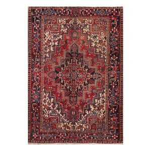 6' 4''x8' 8'' Rust Red Charcoal Color Hand Knotted Persian 100% Wool Traditional Oriental Rug
