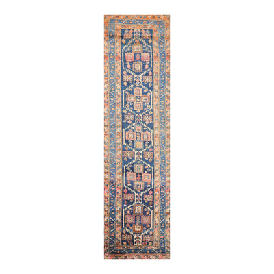 3' 6''x13' 7'' Blue Beige Coral Color Hand Knotted Persian 100% Wool Traditional Oriental Rug