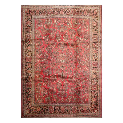 8' 9''x10'  Salmon Charcoal Moss Color Hand Knotted Persian 100% Wool Traditional Oriental Rug