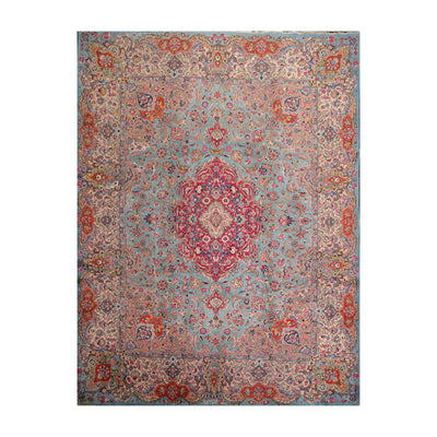 9' 10''x12' 6'' Blue Beige Red Color Hand Knotted Persian 100% Wool Traditional Oriental Rug