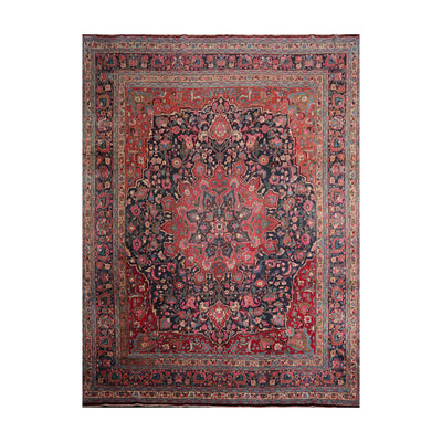 9' 10''x12' 10'' Navy Rose Red Color Hand Knotted Persian 100% Wool Traditional Oriental Rug