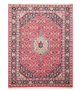 5' 6''x7' 11'' Pink Black Ivory Color Hand Knotted Persian 100% Wool Traditional Oriental Rug