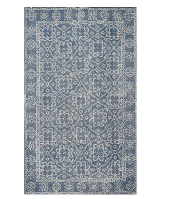 5' x8'  Blue Gray Color Hand Knotted Persian 100% Wool Traditional Oriental Rug