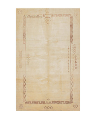 5' x8'  Ivory Brown Color Hand Knotted Tibetan 100% Wool Modern & Contemporary Oriental Rug
