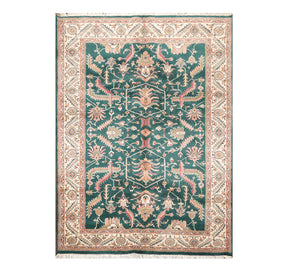 5' 9''x8' 5'' Green Ivory Peach Color Hand Knotted Persian 100% Wool Traditional Oriental Rug