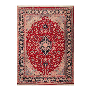 8' 10''x11' 11'' Red Midnight Blue  Rose Color Hand Knotted Persian 100% Wool Traditional Oriental Rug