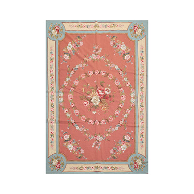 6' x9'  Rose Aqua Beige Color Hand Woven Needlepoint  100% Wool Traditional Oriental Rug