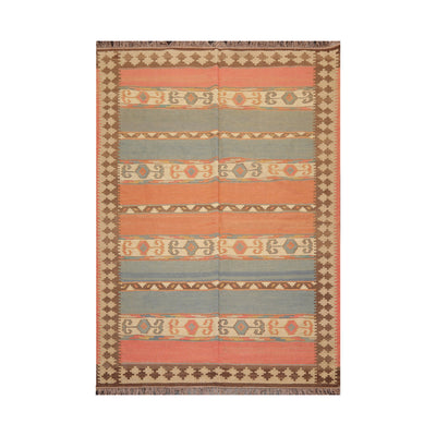 6' x9'  Salmon Blue Brown Color Hand Knotted Persian 100% Wool Southwestern Oriental Rug