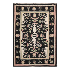 6' x9'  Black Ivory Rose Color Hand Woven Dhurry 100% Wool Modern & Contemporary Oriental Rug