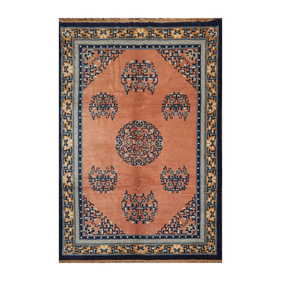 6' 7''x9' 7'' Peach Navy Ivory Color Hand Knotted Persian 100% Wool Traditional Oriental Rug