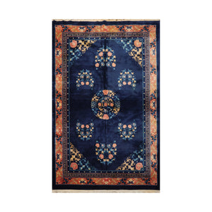 6' x9' 1'' Blue Peach Gold Color Hand Knotted Hand Made 100% Wool Traditional Oriental Rug
