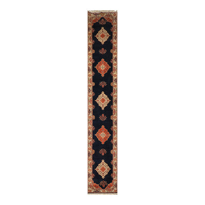 2' 7''x16' 6'' Navy Ivory Orange Color Hand Knotted Persian 100% Wool Traditional Oriental Rug
