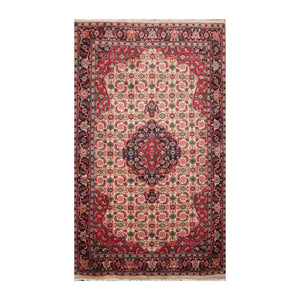 4' x6'  Beige Navy Burnt Orange Color Hand Knotted Persian 100% Wool Traditional Oriental Rug