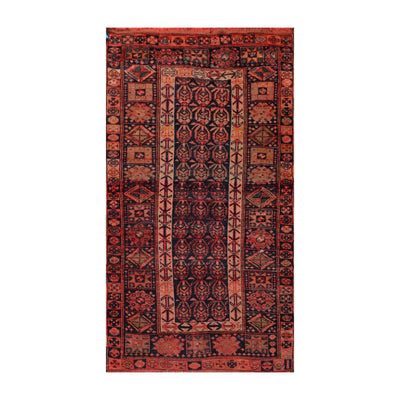 4' x6' 4'' Navy Coral Rose Color Hand Knotted Persian 100% Wool Traditional Oriental Rug