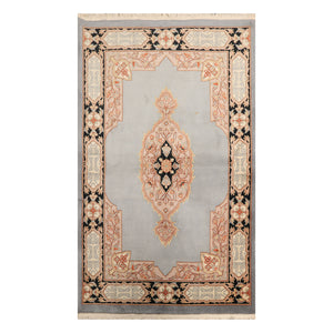 4' x6'  Gray Tan Black Color Hand Knotted Aubusson  100% Wool Traditional Oriental Rug