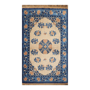 4' x6'  Beige Royal Blue Navy Color Hand Knotted Persian 100% Wool Traditional Oriental Rug