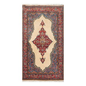 4' 4''x6' 5'' Ivory Coral Blue Color Hand Knotted Persian 100% Wool Traditional Oriental Rug