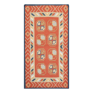 3' 2''x5'  Teracotta Beige Camel Color Hand Knotted Dhurry 100% Wool Traditional Oriental Rug