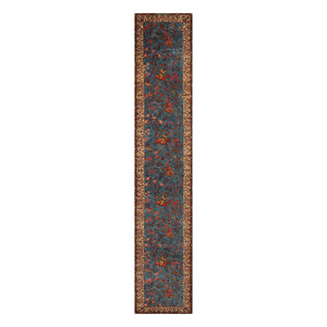 2' 7''x14' 6'' Teal Blue Beige Color Hand Knotted Persian 100% Wool Traditional Oriental Rug