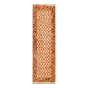 2' 6''x7' 11'' Beige Burnt Orange Mustard Color Hand Knotted Persian 100% Wool Traditional Oriental Rug