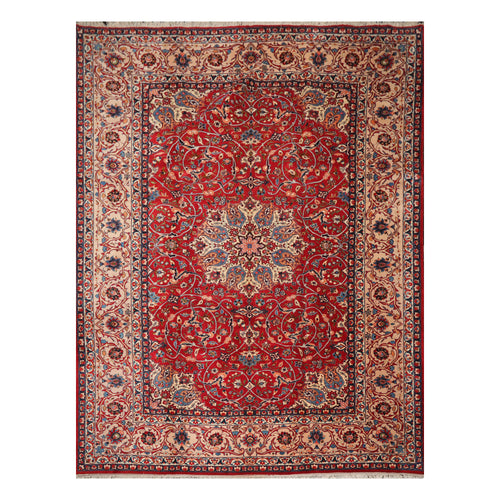 10' 4''x13' 10'' Red Beige Peach Color Hand Knotted Persian 100% Wool Traditional Oriental Rug