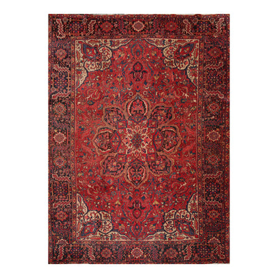 9' 10''x13'  Red Rust Beige Color Hand Knotted Persian 100% Wool Traditional Oriental Rug