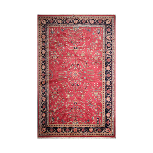 11' x17'  Rose Midnight Blue  Ivory Color Hand Knotted Persian 100% Wool Traditional Oriental Rug