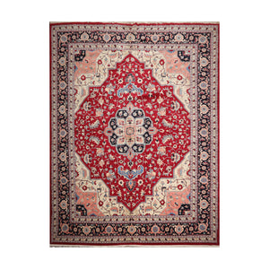 12' x15' 3'' Red Ivory Black Color Hand Knotted Persian 100% Wool Traditional Oriental Rug