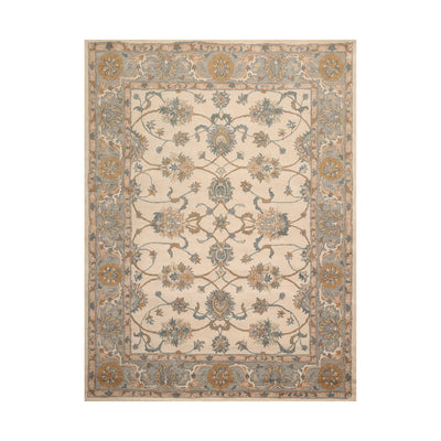8' x10'  Beige Slate Blue Color Hand Tufted Persian 100% Wool Traditional Oriental Rug