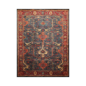 8' x10'  Blue Burgundy Orange Color Hand Tufted Persian 100% Wool Traditional Oriental Rug