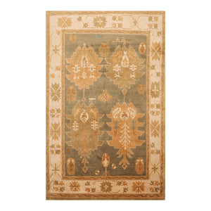5' 5''x9' 2'' Gray Beige Brown Color Hand Knotted  100% Wool Traditional Oriental Rug