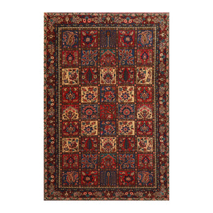 5' 5''x8' 1'' Red Navy Coral Color Hand Knotted  100% Wool Traditional Oriental Rug