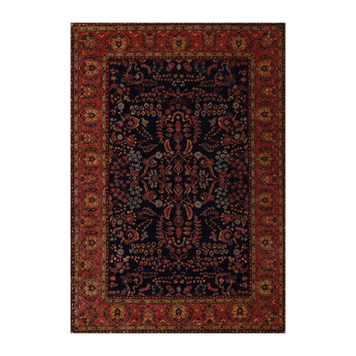 6' 8''x9' 5'' Navy Rose Gold Color Hand Knotted  100% Wool Traditional Oriental Rug