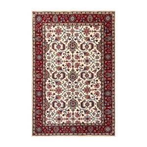 4' x5' 7'' Ivory Burgundy Green Color Hand Knotted  100% Wool Traditional Oriental Rug