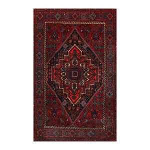 2' 7''x4' 1'' Red Orange Navy Color Hand Knotted  100% Wool Traditional Oriental Rug