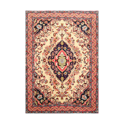 2' 3''x3' 5'' Ivory Navy Rose Color Hand Knotted  100% Wool Traditional Oriental Rug
