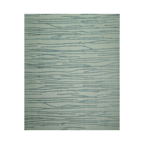 8' 10''x10' 11'' Tone On Tone Teal Color Hand Knotted  100% Wool Modern & Contemporary Oriental Rug