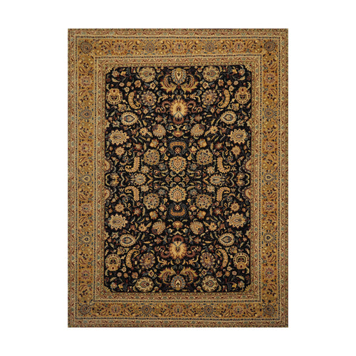 8' 10''x11' 10'' Black Tan Gold Color Hand Knotted Persian 100% Wool Traditional Oriental Rug