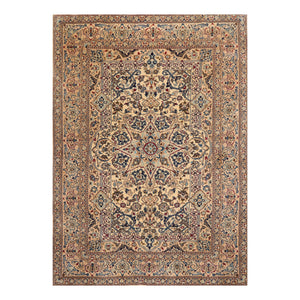 6' 8''x9' 3'' Ivory Tan Navy Color Hand Knotted Persian Wool and Silk Traditional Oriental Rug
