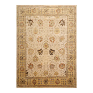 8' 10''x11' 10'' Beige Gold Gray Color Hand Knotted Persian 100% Wool Traditional Oriental Rug