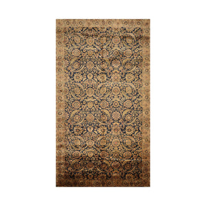 8' 2''x14' 7'' Midnight Blue  Gold Beige Color Hand Knotted  100% Wool Traditional Oriental Rug