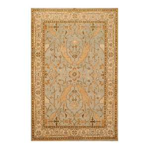 5' 11''x9' 1'' Aqua Beige Tan Color Hand Knotted Persian 100% Wool Traditional Oriental Rug