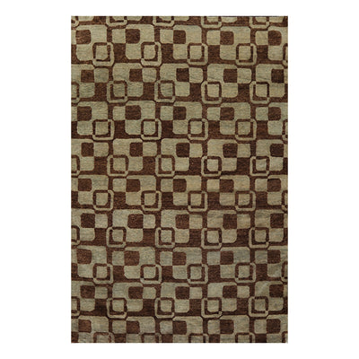 5' 10''x8' 10'' Aqua Brown Color Hand Knotted Tibetan 100% Wool Modern & Contemporary Oriental Rug