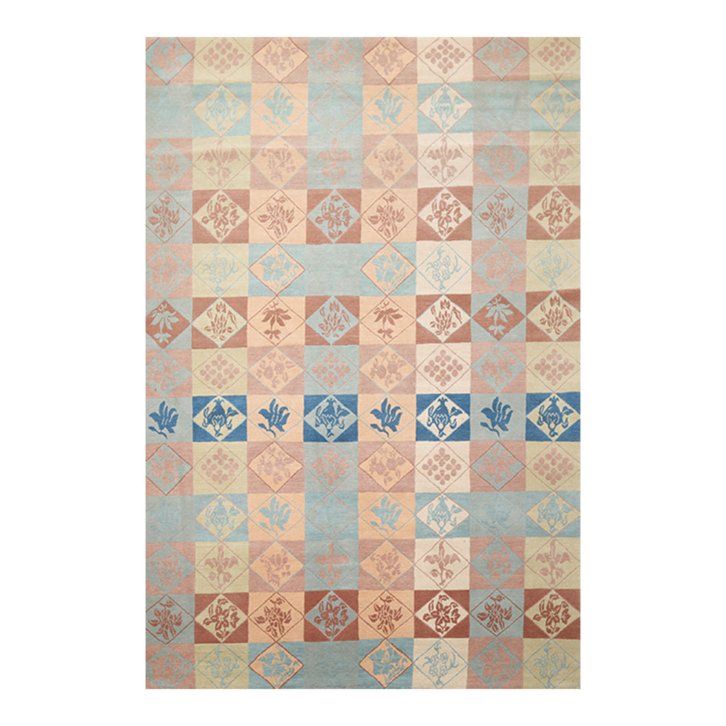 6' x9'  Blue Beige Peach Color Hand Knotted Tibetan 100% Wool Modern & Contemporary Oriental Rug